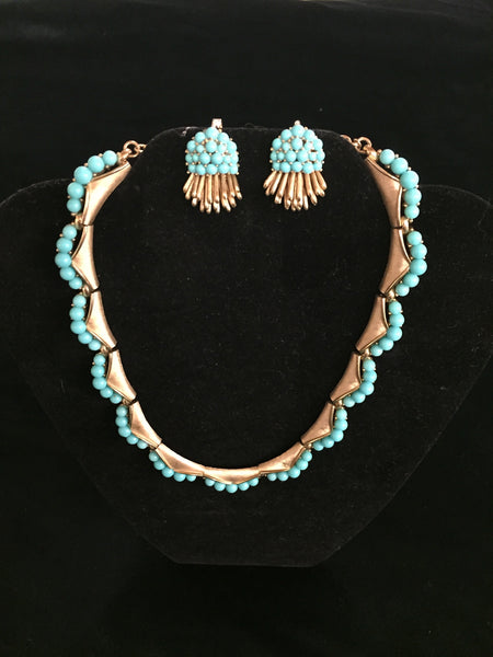 Vintage Trifari Goldtone Faux Turquoise Necklace & Clip Earring Set