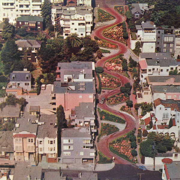 Vintage E F Clements Souvenir Color Postcard Aerial View Lombard Street between Leavenworth and Hyde Crookedest Street in the World San Francisco California