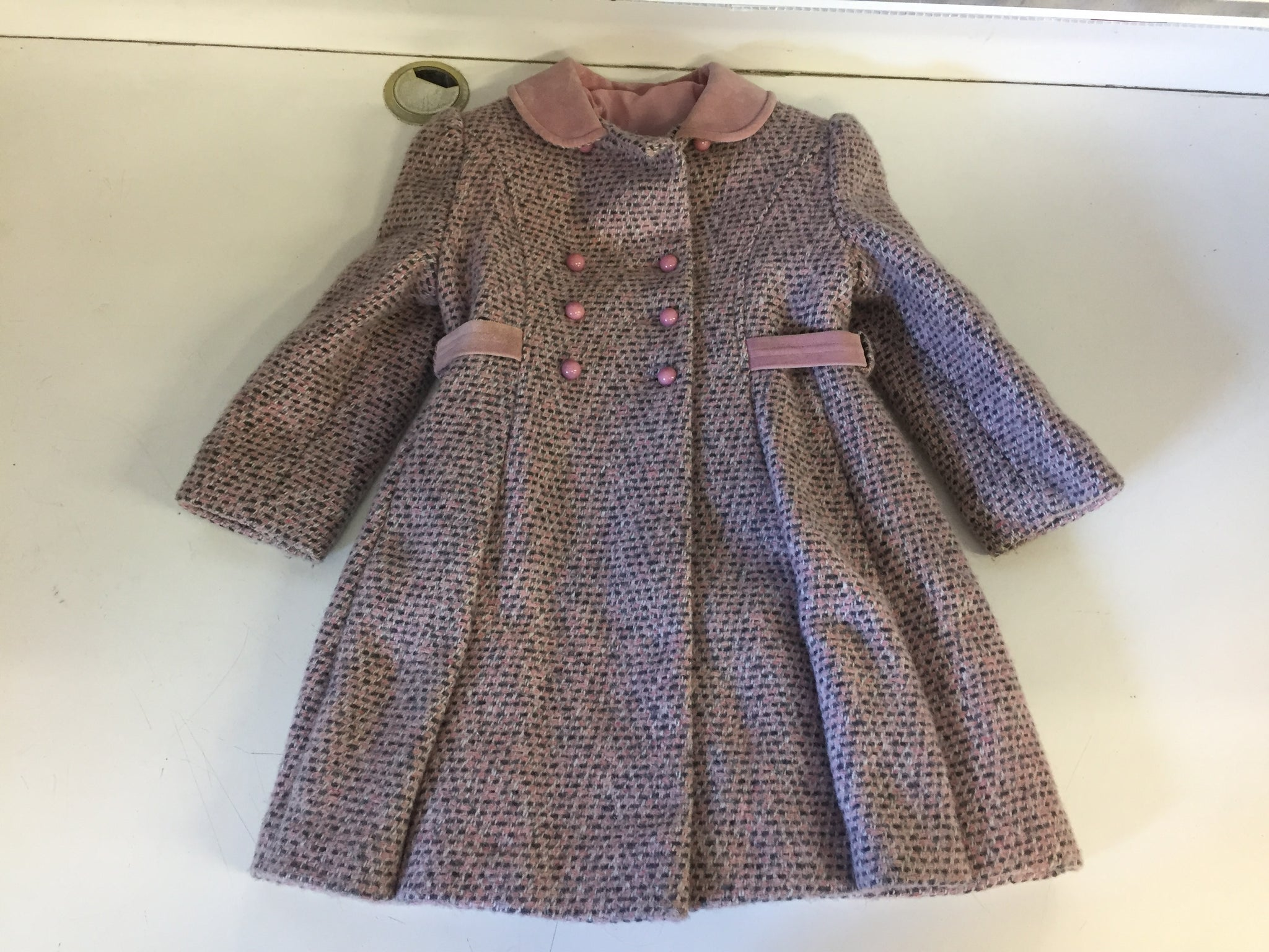 Vintage 1970's Pink Tweed Fit & Flair Child's Coat FW Fischer Designs For Ellerie Fashions Sz 5 Little Girl