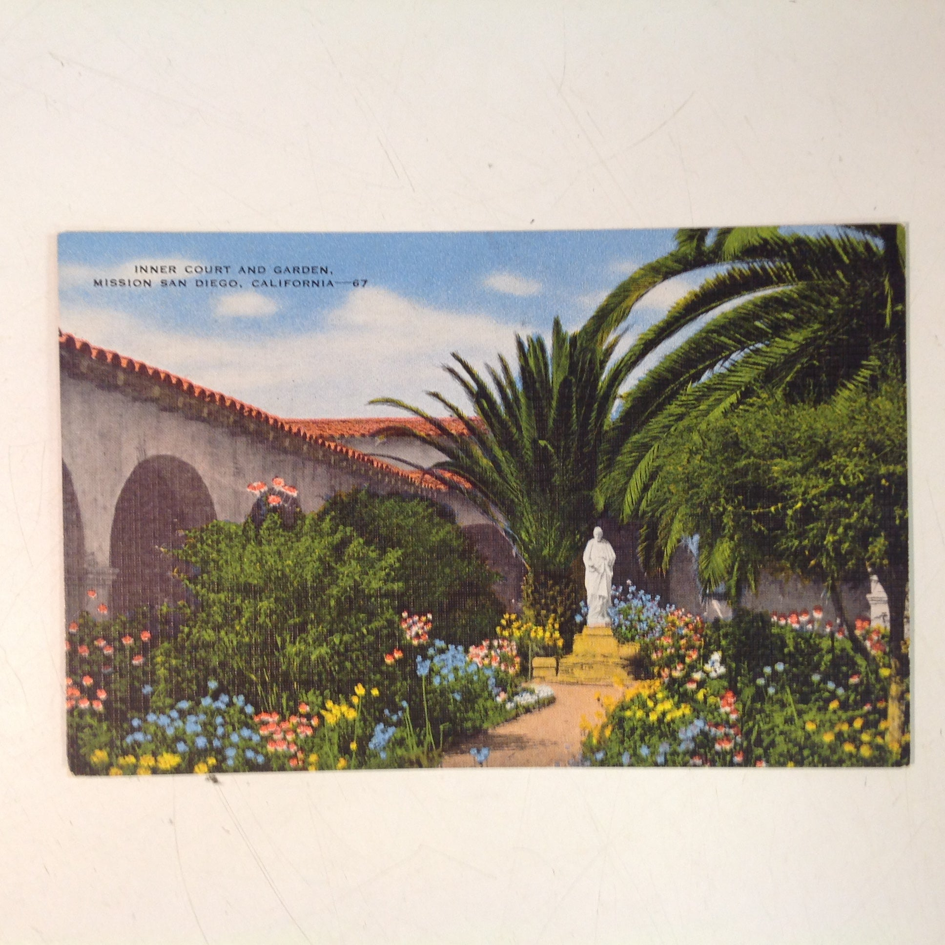 Vintage Hopkins News Agency Color Postcard Inner Court and Garden Mission San Diego California