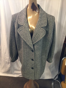 Vintage Noble Fashions Heavy Gray Wool Coat Made in The USA