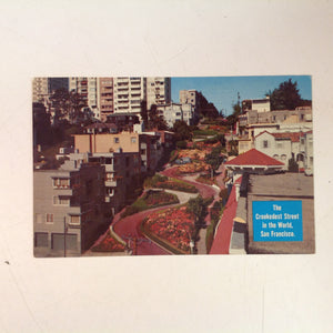 Vintage Mid Century H S Crocker Souvenir Color Postcard Lombard Street Crookedest Street Overhead View San Francisco California