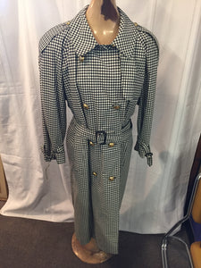 Vintage 1980's Aquascutum Of London Black & White Checkered Ladies Water Proof