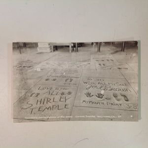 Vintage Souvenir B&W Real Photo Postcard Footprints and Autographs of the Stars Chinese Theatre Hollywood California