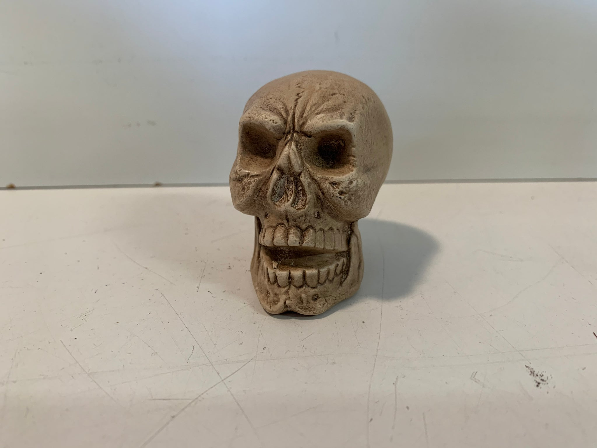 Vintage Homemade Ceramics Skull Figurine Halloween