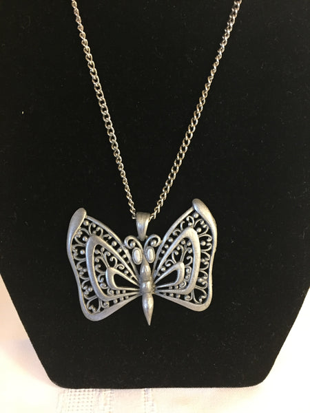 Vintage Designer RAZZA Stunning Pewter Butterfly Pendant Necklace