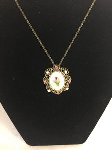 Vintage 1970's Goldtone Pink Rhinestone Satin Finish Screen Print Floral Pendant Necklace