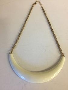 Vintage Goldtone White Enamel Curved Bar Necklace Collar