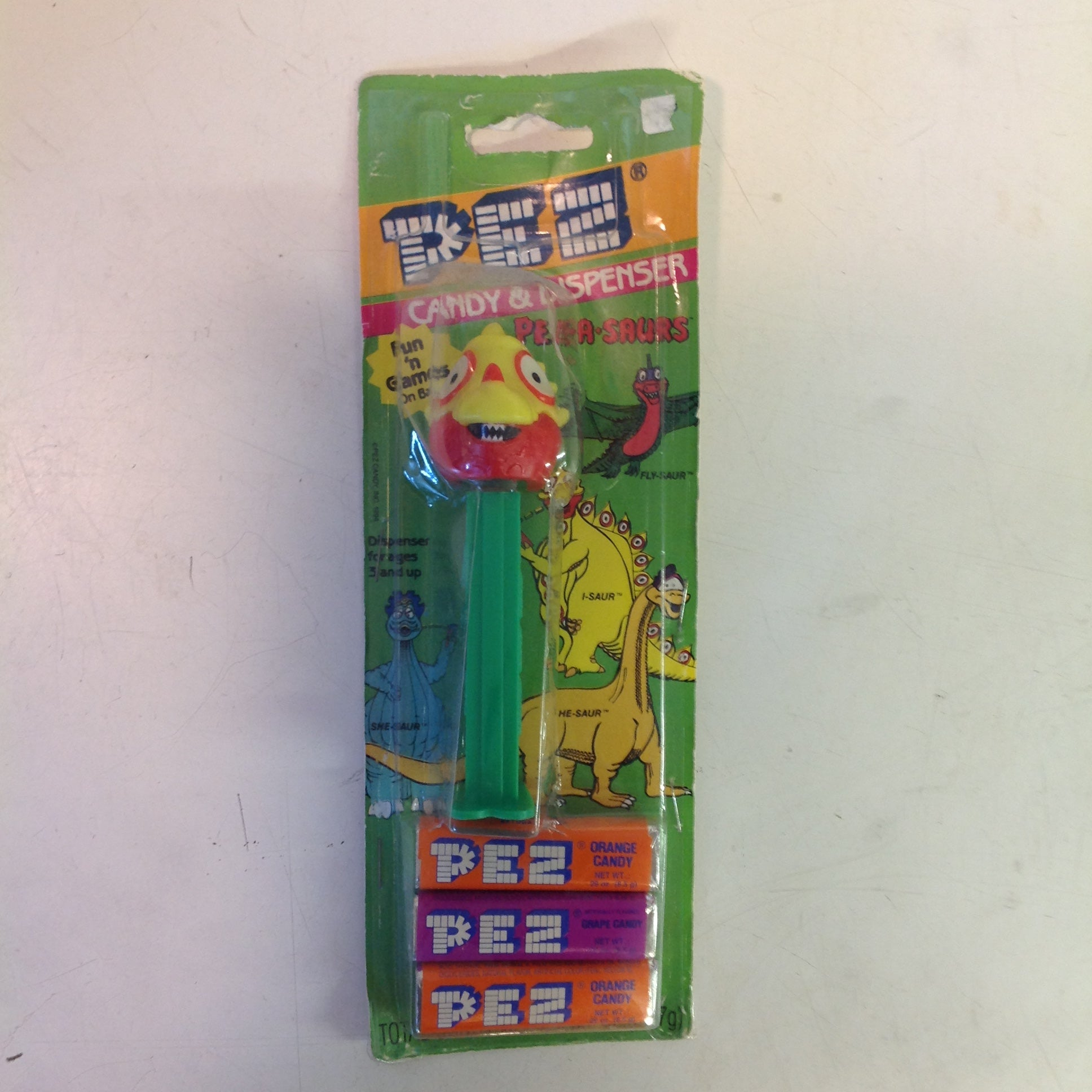 Vintage 1990's Pez Candy Dispenser w/Original Packaging Pez-A-Saurs I-Saur