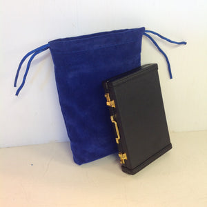 Vintage Black Miniature Briefcase Business Card Wallet with Royal Blue Satchel
