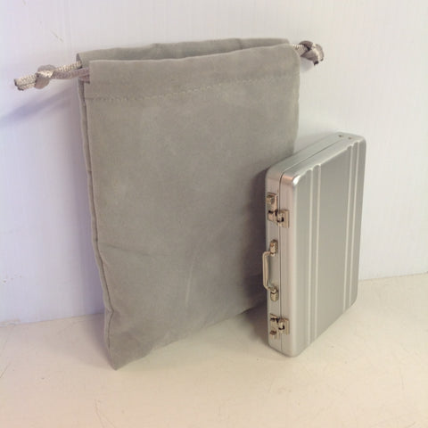 Vintage Kikkerland Miniature Briefcase Steel Sheen Business Card Wallet with Grey Satchel