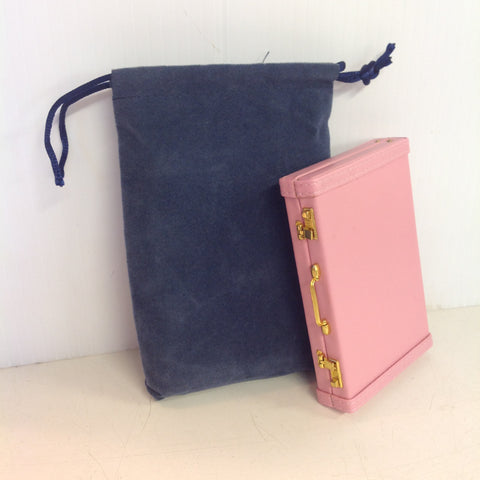 Vintage Kikkerland Miniature Briefcase-Style Pink Business Card Wallet with Slate Blue Satchel
