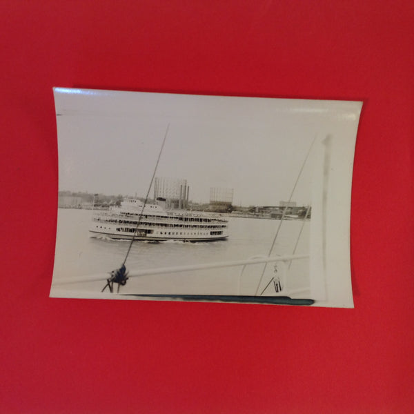 Vintage B&W Photograph Boblo Island Ship Columbia From Exterior Deck of Passing Ship