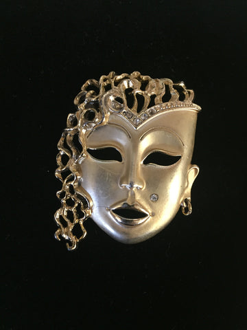 Vintage Stunning All Goldtone Face Brooch Pin Rhinestone Mole