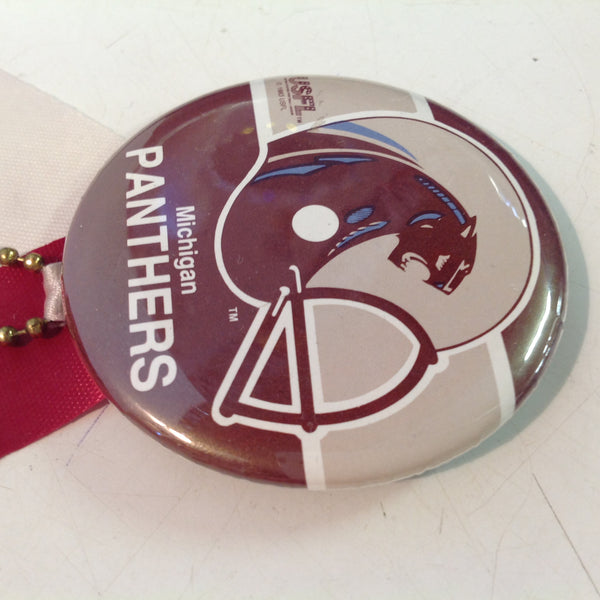 Vintage Michigan Panthers USFL Football Team Pinback with Ribbon and Maroon Rabbit Foot Flair