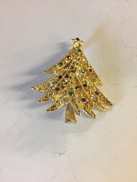 Beautiful Goldtone Rhinestone Christmas Tree Brooch Pin Holiday Unsigned