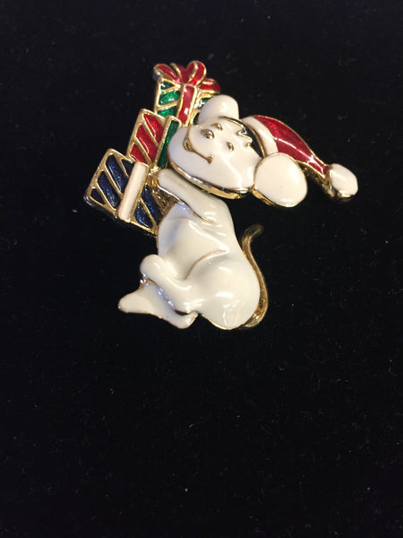 Vintage Goldtone Enamel Tremble Christmas Mouse Brooch Pin Presents Holiday
