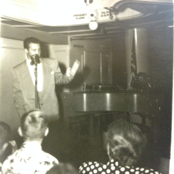 Vintage Mid Century B&W Photo SS South American Cruise Show Emcee at the Mic