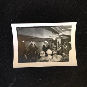 Vintage Mid Century B&W Photo SS South American Cruise Show Funny Hat Presenter