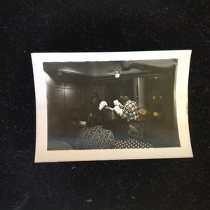 Vintage Mid Century B&W Photo SS South American Cruise Show Plaid Shirt and Funny Gloves