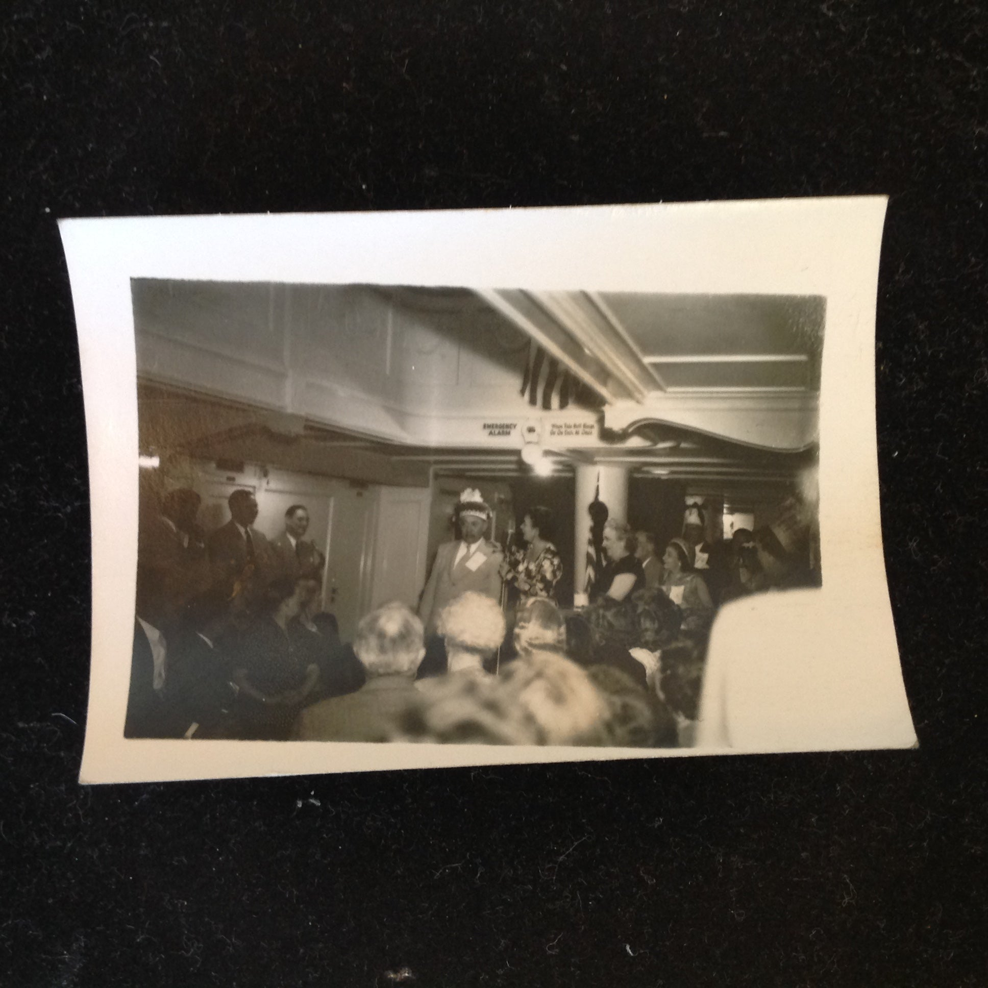 Vintage Mid Century B&W Photo SS South American Cruise Show Crowned with Funny Hat