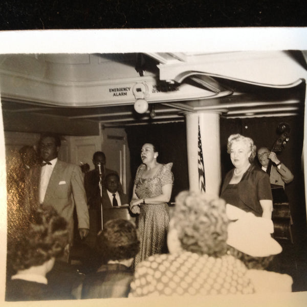 Vintage Mid Century B&W Photo SS South American Cruise Show The Lady Sings