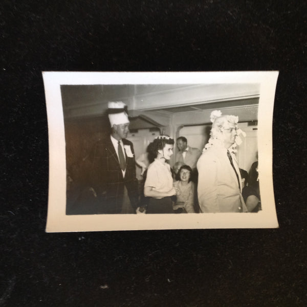 Vintage Mid Century B&W Photo SS South American Cruise Show Parade of Silly Hats