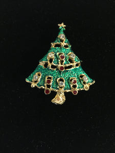 Vintage Goldtone Enameled Christmas Tree Brooch Pin Rhinestone