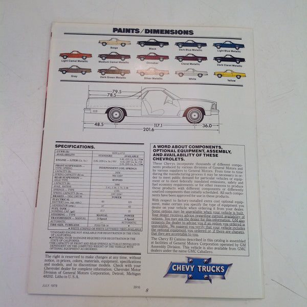 Vintage 1979 Chevrolet 1980 El Camino Informational Sales Brochure Chevy Trucks