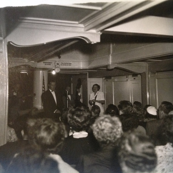 Vintage Mid Century B&W Photo SS South American Cruise Show Emcee and Presenters Face the Audience