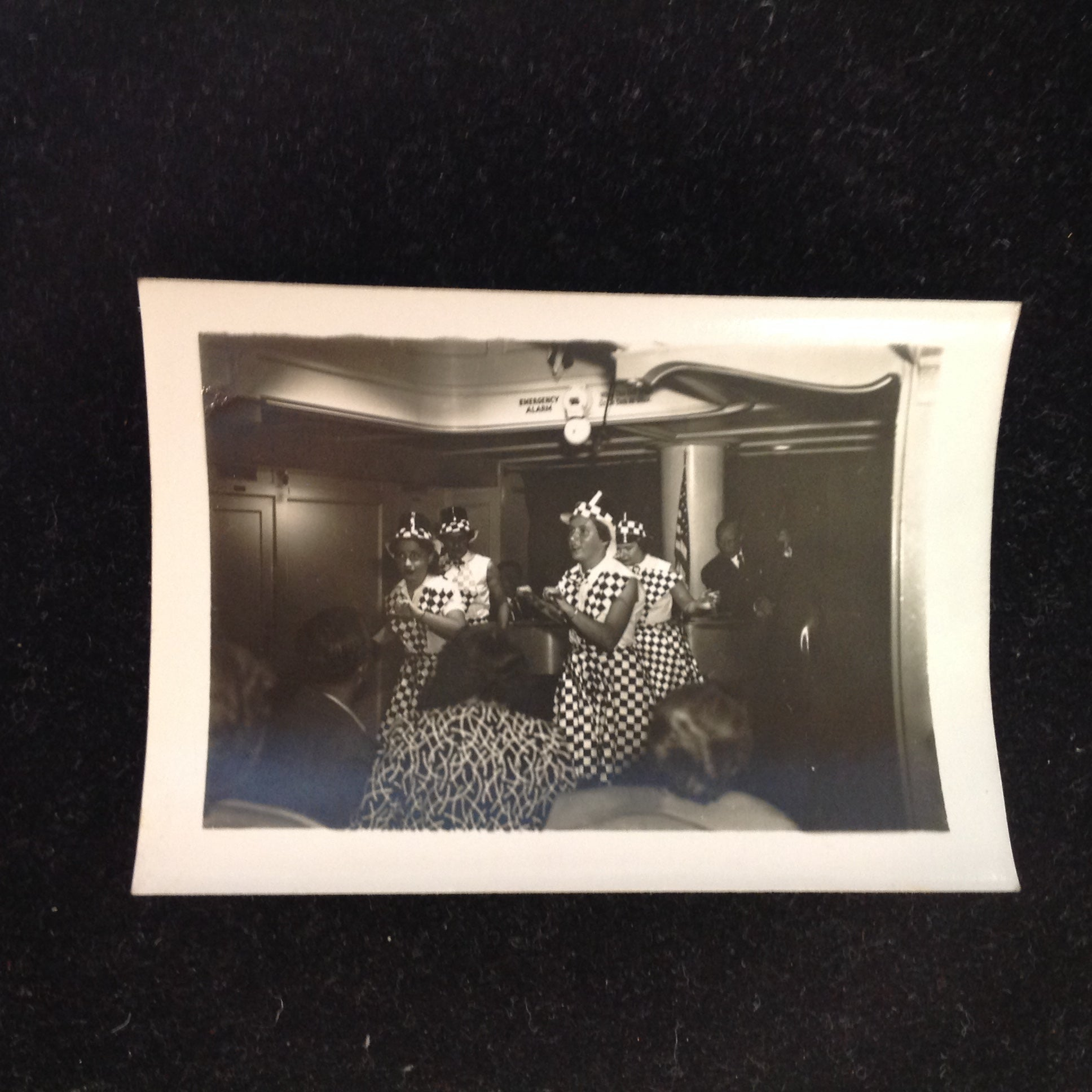 Vintage Mid Century B&W Photo SS South American Cruise Show Checkered Ladies Quartet Entertains