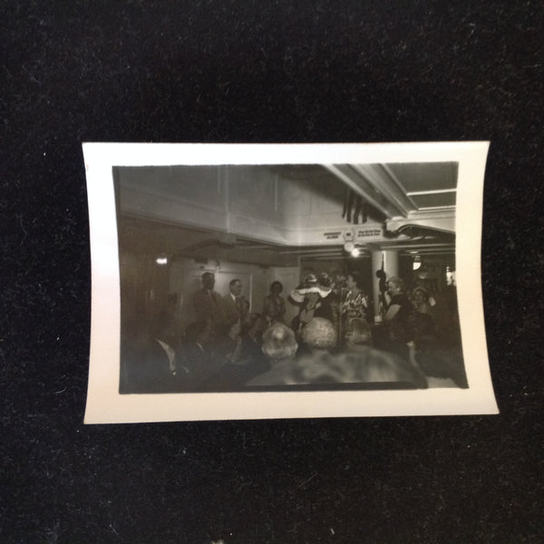 Vintage Mid Century B&W Photo SS South American Cruise Show Lady with Ridiculous Hat