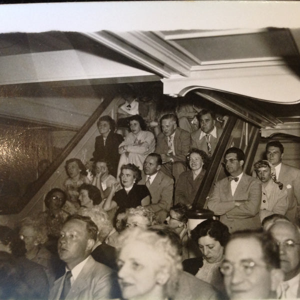Vintage Mid Century B&W Photo SS South American Cruise Show Overflow Seating on the Stairway