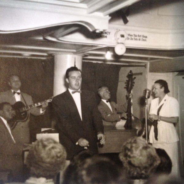 Vintage Mid Century B&W Photo SS South American Cruise Show Emcee and Presenters with the Band