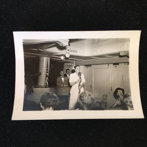 Vintage Mid Century B&W Photo SS South American Cruise Show Lady Emcee at the Mic