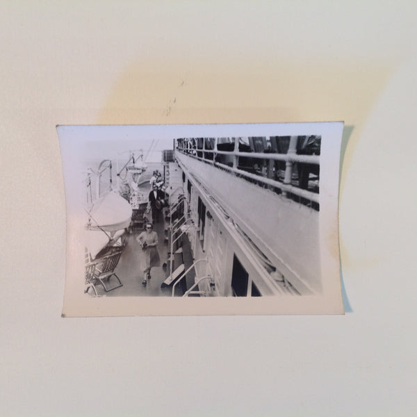 Vintage Mid Century B&W Photo SS South American Cruise Exterior Shot Arriving on Deck in Long Skirt and Camera