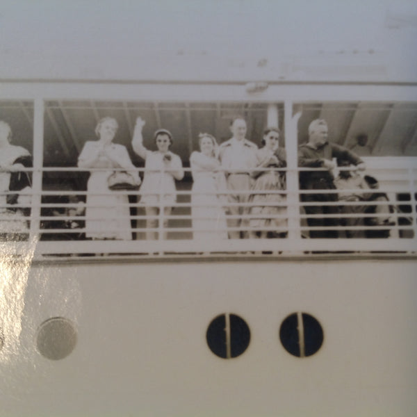Vintage Mid Century B&W Photo SS South American Cruise Exterior Shot Young Lady Waves Bon Voyage