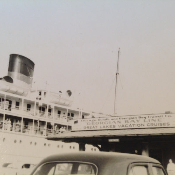Vintage Mid Century B&W Photo SS South American Cruise Exterior Shot Georgian Bay Line Docks