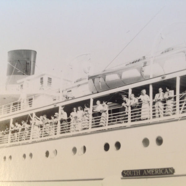 Vintage Mid Century B&W Photo SS South American Cruise Exterior Shot Array of Passengers Wave From the Rails