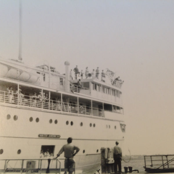 Vintage Mid Century B&W Photo SS South American Cruise Exterior Shot In Port with Passengers and Folks at the Dock