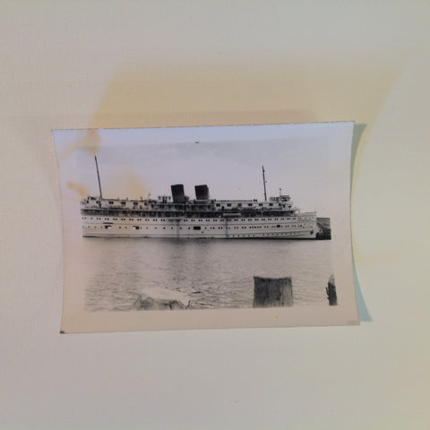 Vintage Mid Century B&W Photo SS South American Cruise Exterior Shot Ship Portside Passing the Pilings