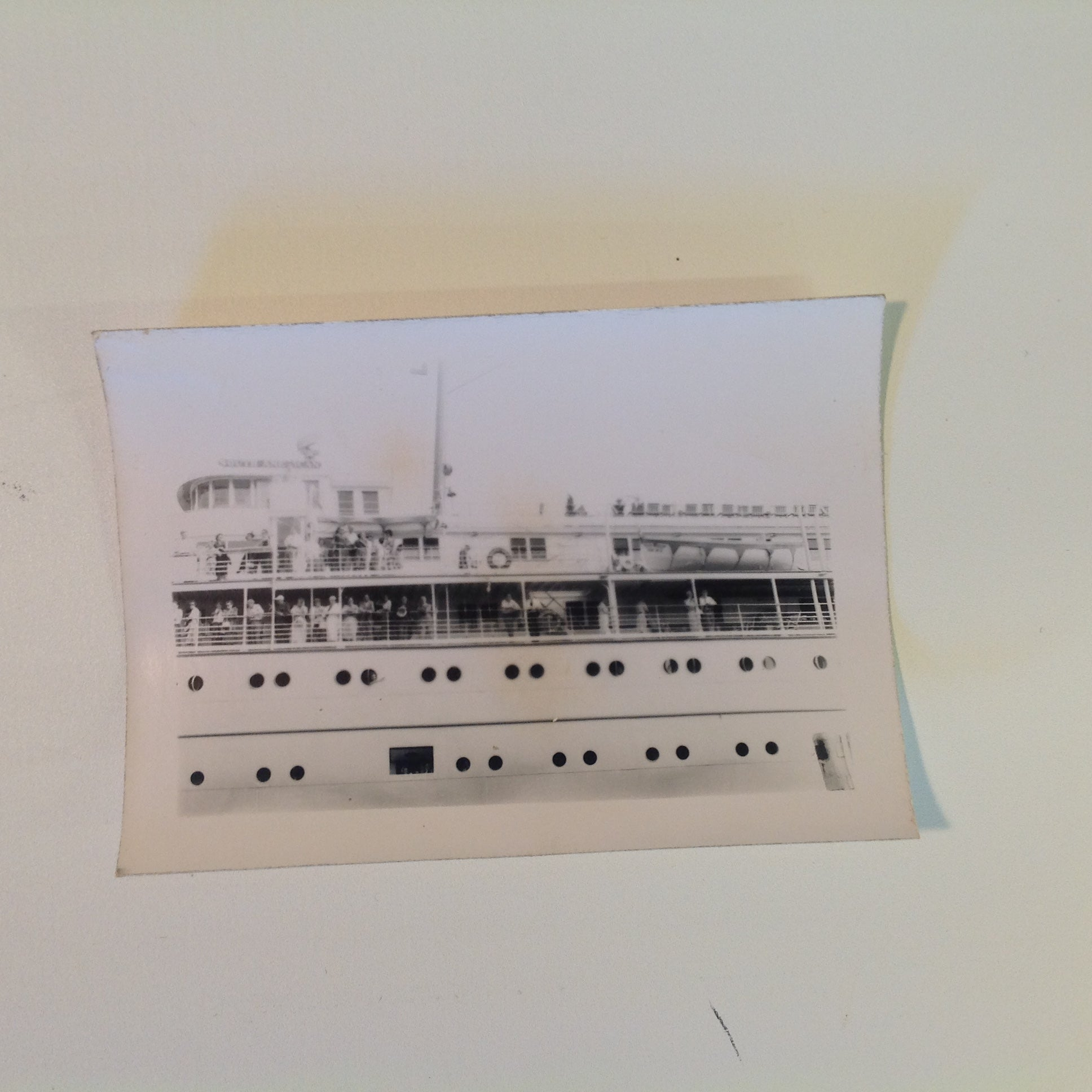Vintage Mid Century B&W Photo SS South American Cruise Exterior Shot Passengers Along Upper and Lower Deck Rails
