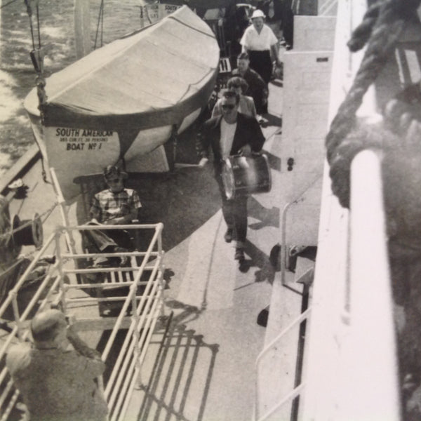 Vintage Mid Century B&W Photo SS South American Cruise Exterior Shot Ship Drummer Leads Passengers on Deck