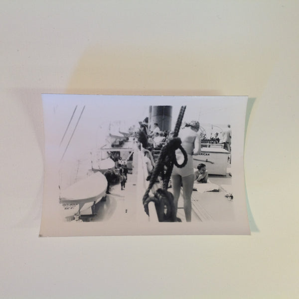 Vintage Mid Century B&W Photo SS South American Cruise Sunbathing on Deck