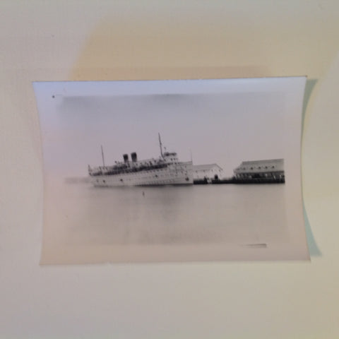 Vintage Mid Century B&W Photo SS South American Cruise Exterior Shot Ship Sailing from Harbor