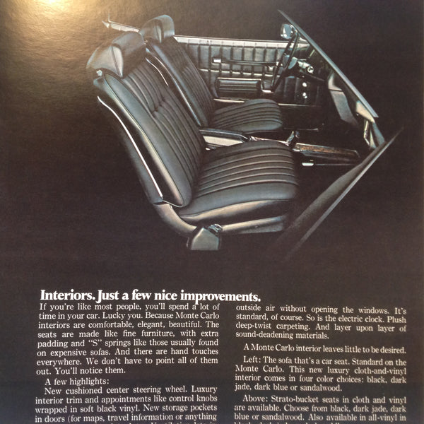 Vintage 1970 Chevrolet 1971 Monte Carlo Informational Sales Brochure Coupe SS