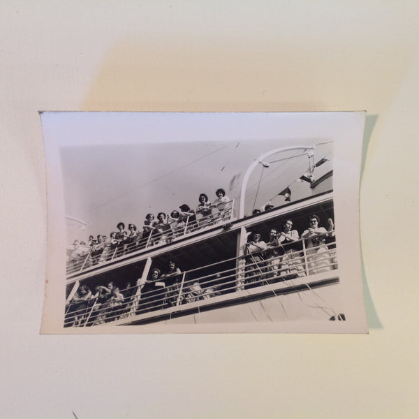 Vintage Mid Century B&W Photo SS South American Cruise Exterior Shot Passengers at Rail with Streamers as Ship Sails