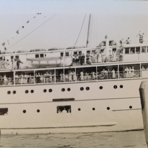 Vintage Mid Century B&W Photo SS South American Cruise Exterior Shot from Port Passengers Along the Rails