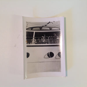 Vintage Mid Century B&W Photo SS South American Cruise Exterior Candid Shot at the Rails Above Portholes