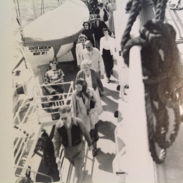 Vintage Mid Century B&W Photo SS South American Cruise Exterior Shot Passengers Walk Single File on Deck